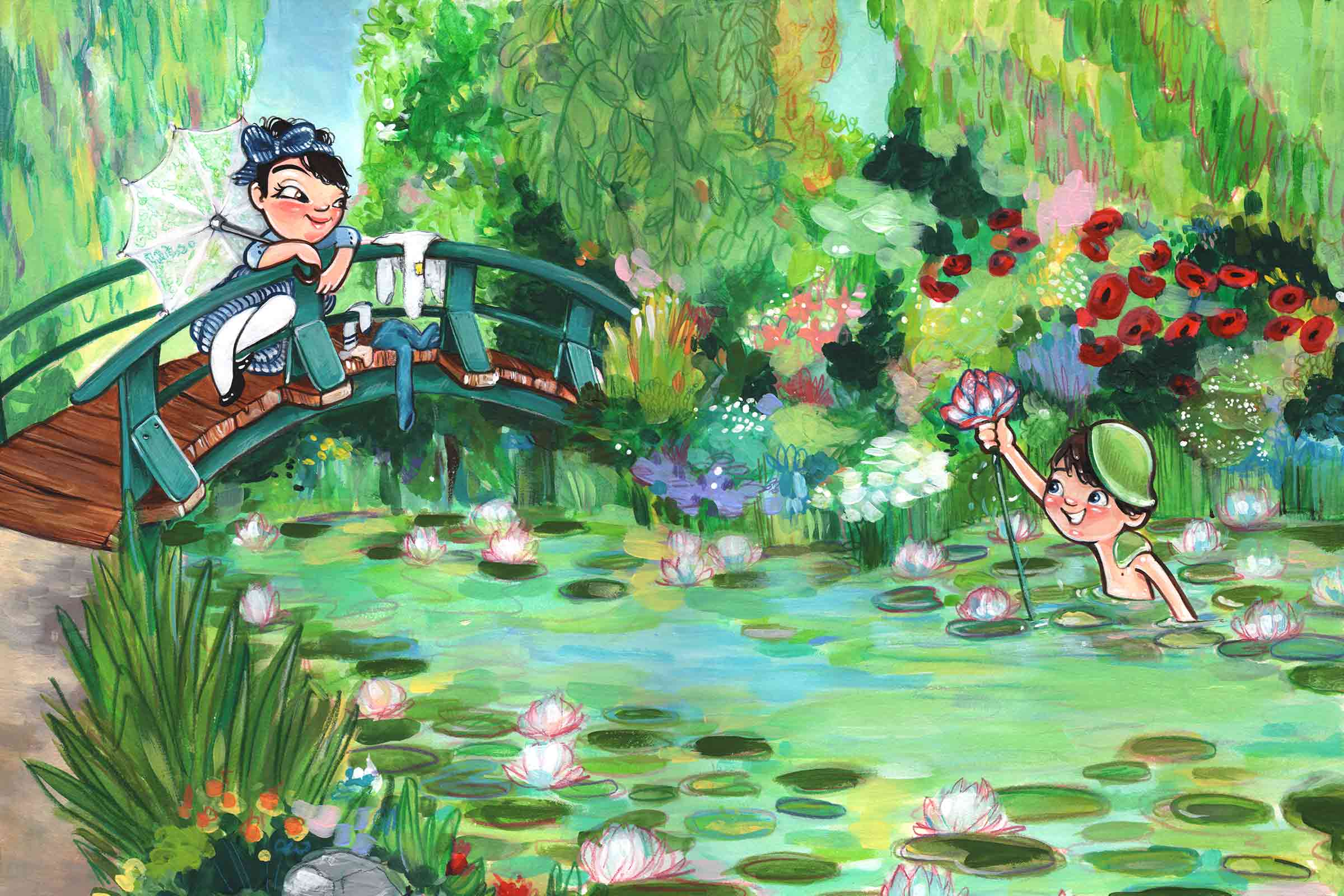 Young Claude Monet is waist deep in the garden pond as he holds one of his water lillies for a young camille who sits on a bridge over the water.